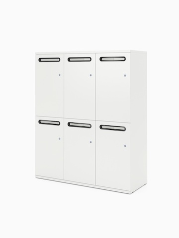 A white Paragraph Storage locker unit with six compartments and slot handles, viewed at an angle.