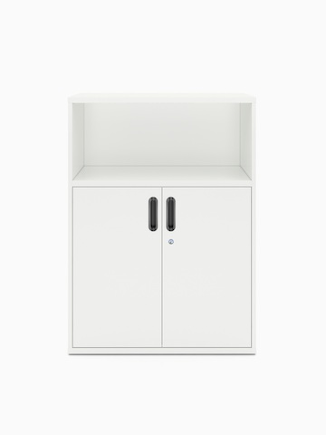 A white Paragraph Storage combination unit consisting of an open shelf above a lower cabinet with hinged doors.