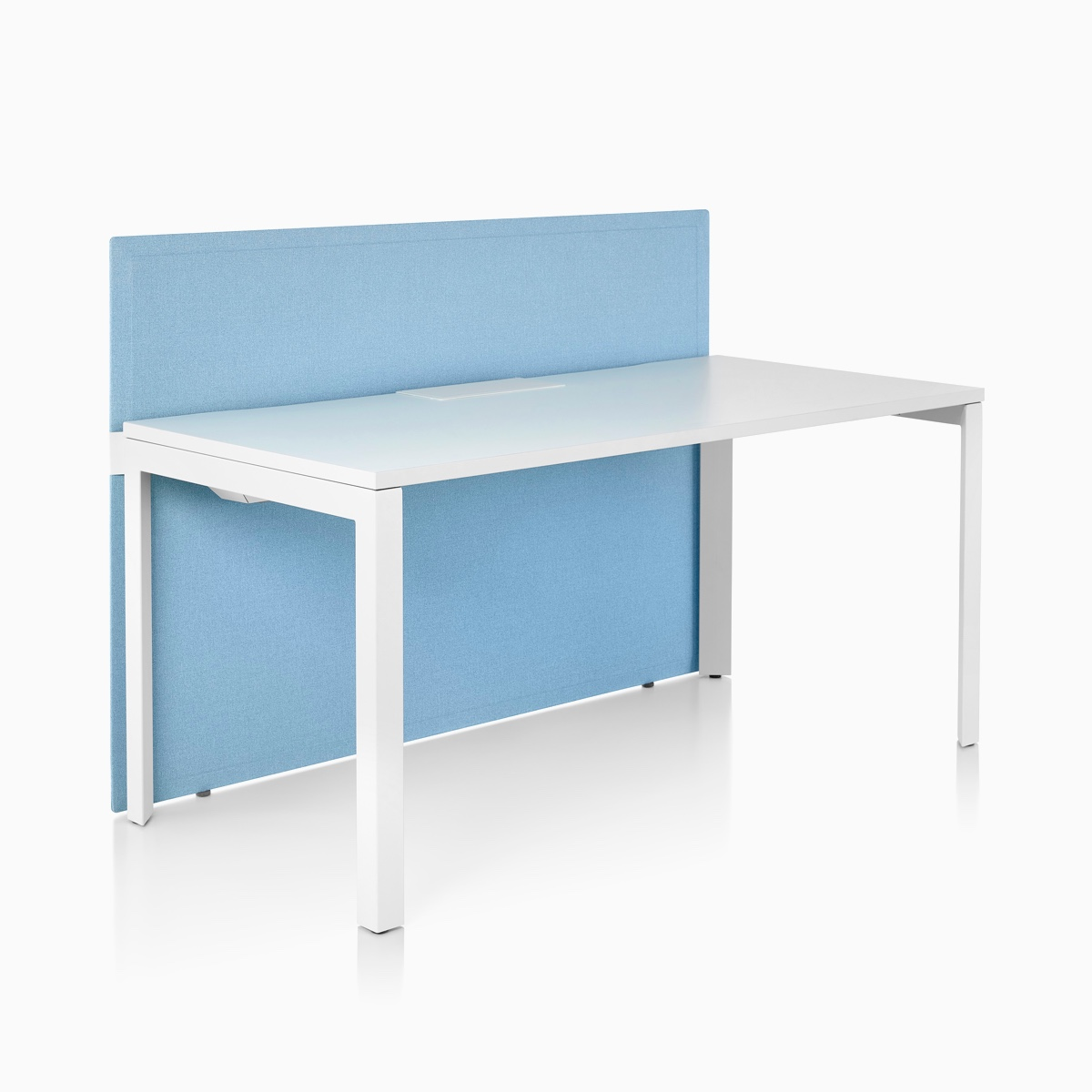 A light blue fabric Pari Freestanding Screen attached to the front side of a white Layout Studio single-sided bench.