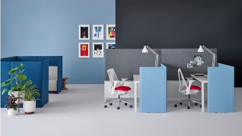 Blue and gray Pari Screens delineate space in an open work area.