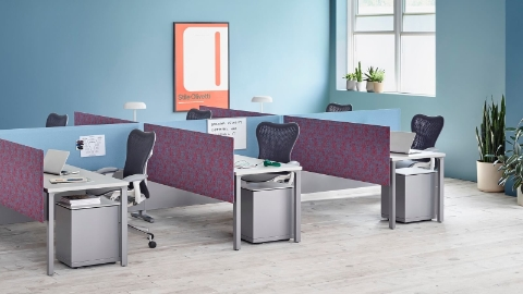 Pari Screens in light blue and patterned mauve create boundaries between a cluster of workstations featuring black Mirra 2 Chairs.