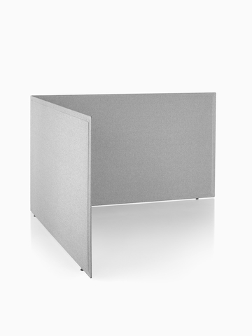 A pair of gray fabric Pari freestanding screens, arranged at right angles. Select to go to the Pari Screens product page.