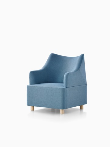 Light blue Plex club chair, viewed from a 45-degree angle.