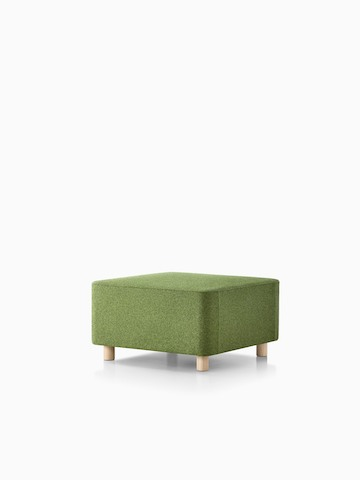 An oblique view of an olive green Plex ottoman.