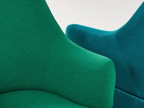 Close view of two Plex upholstery options in shades of green and blue.