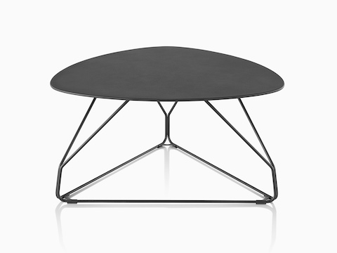 A black Polygon Wire occasional table with a rounded triangular top.