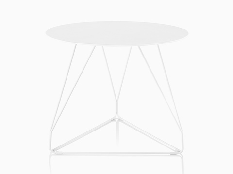 A round Polygon Wire occasional table with a white top and wire base.