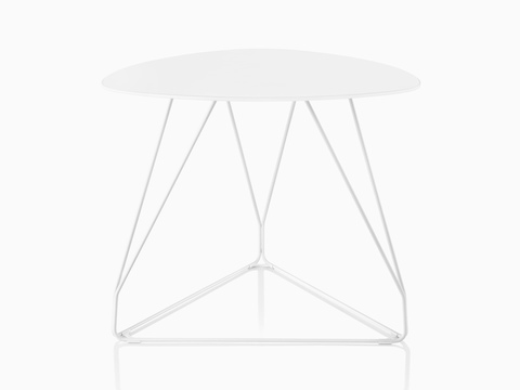 A white Polygon Wire occasional table with a rounded triangular top.