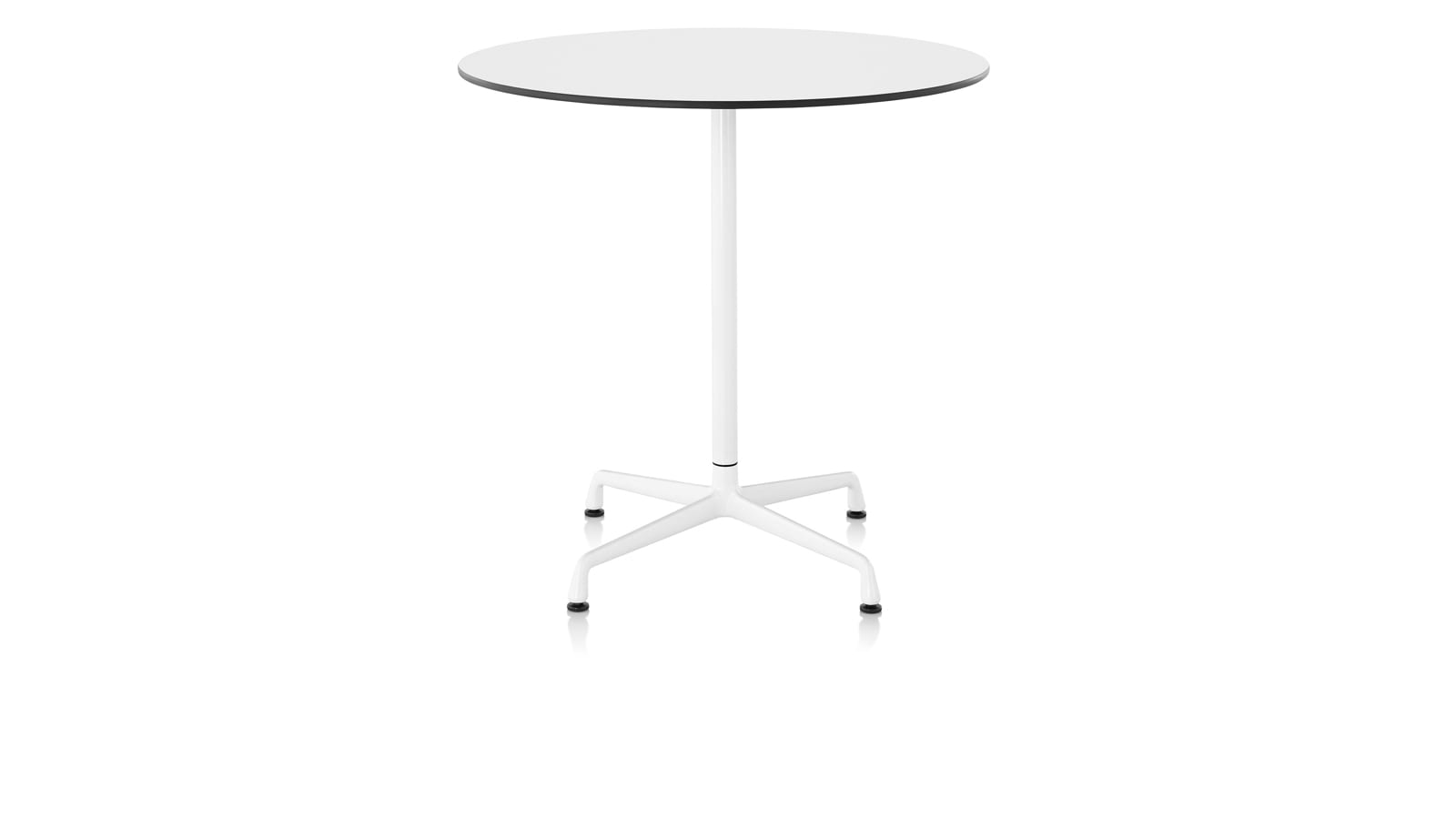 White sweep image of an Eames Standing-Height Table with round top.