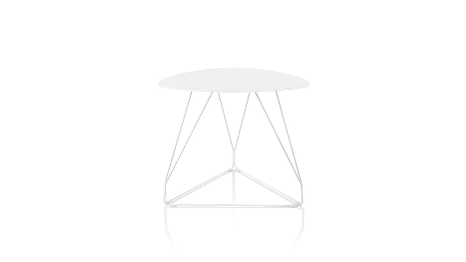 White sweep image of a Polygon Wire Table in white.