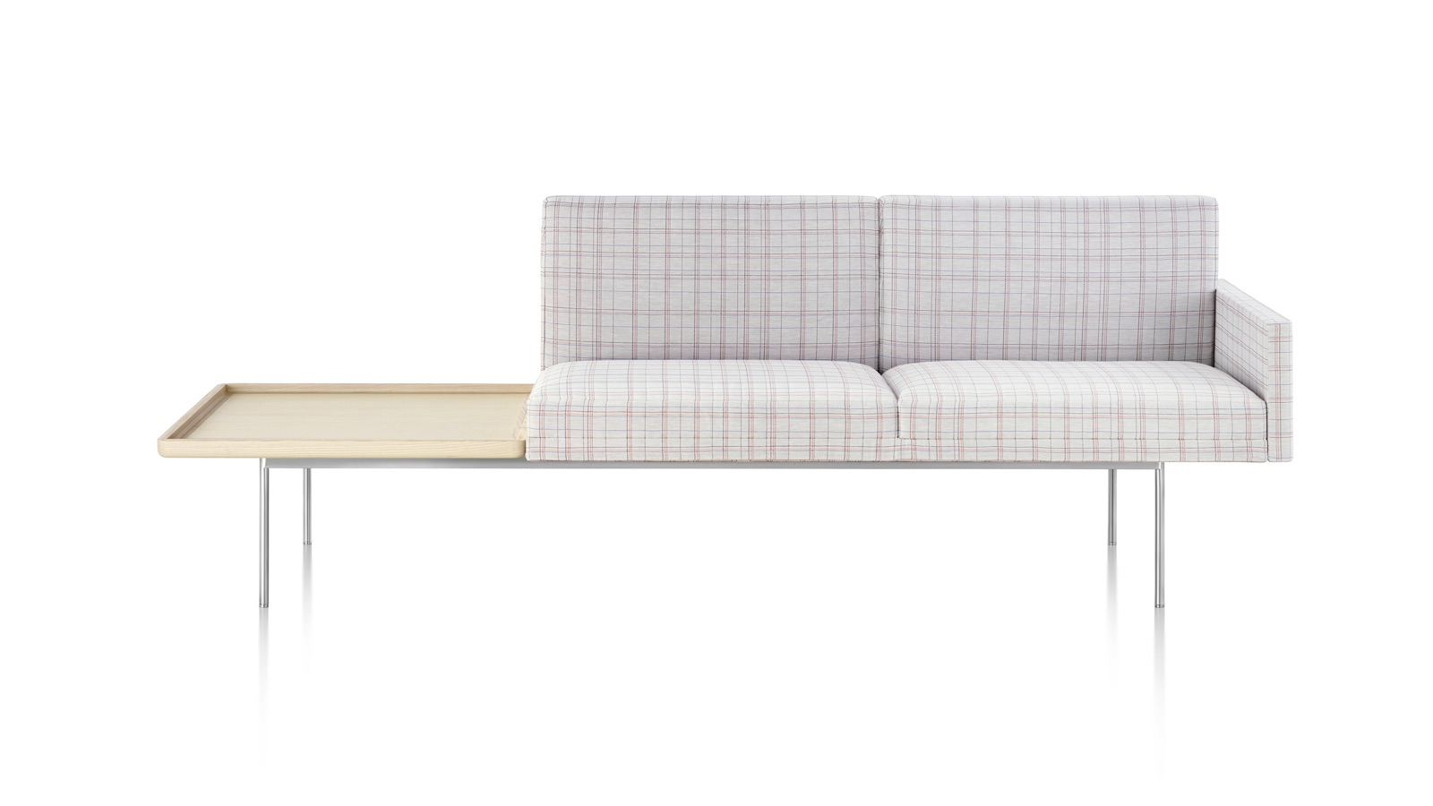 White sweep image of a Tuxedo Component Lounge settee with connected table.
