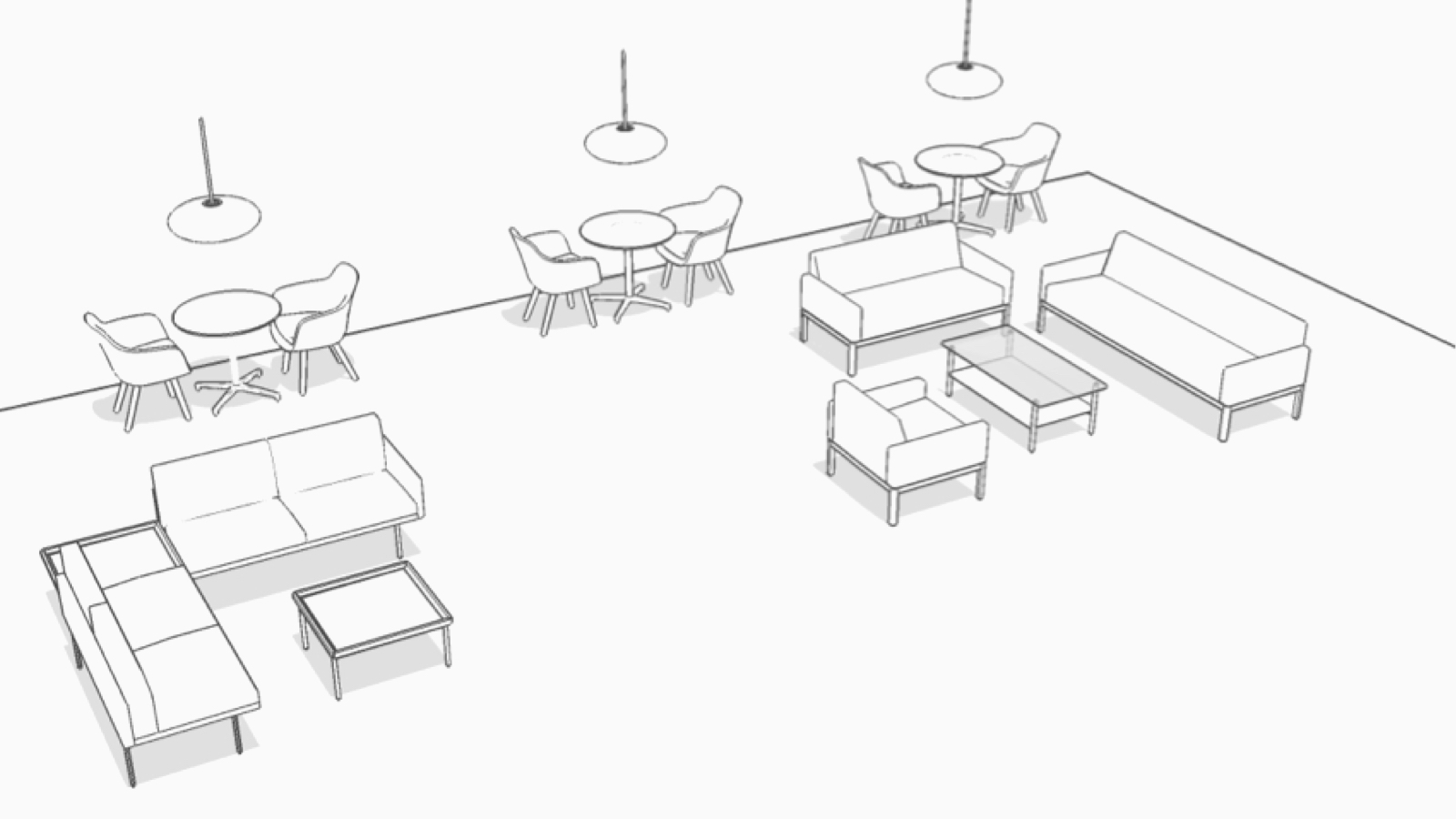 Isometric drawing of this Plaza setting.