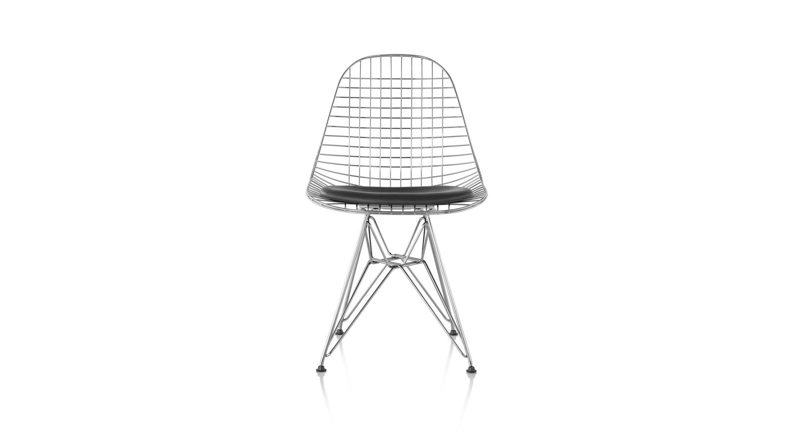 White sweep image of an Eames Wire Chair with Seat Pad.