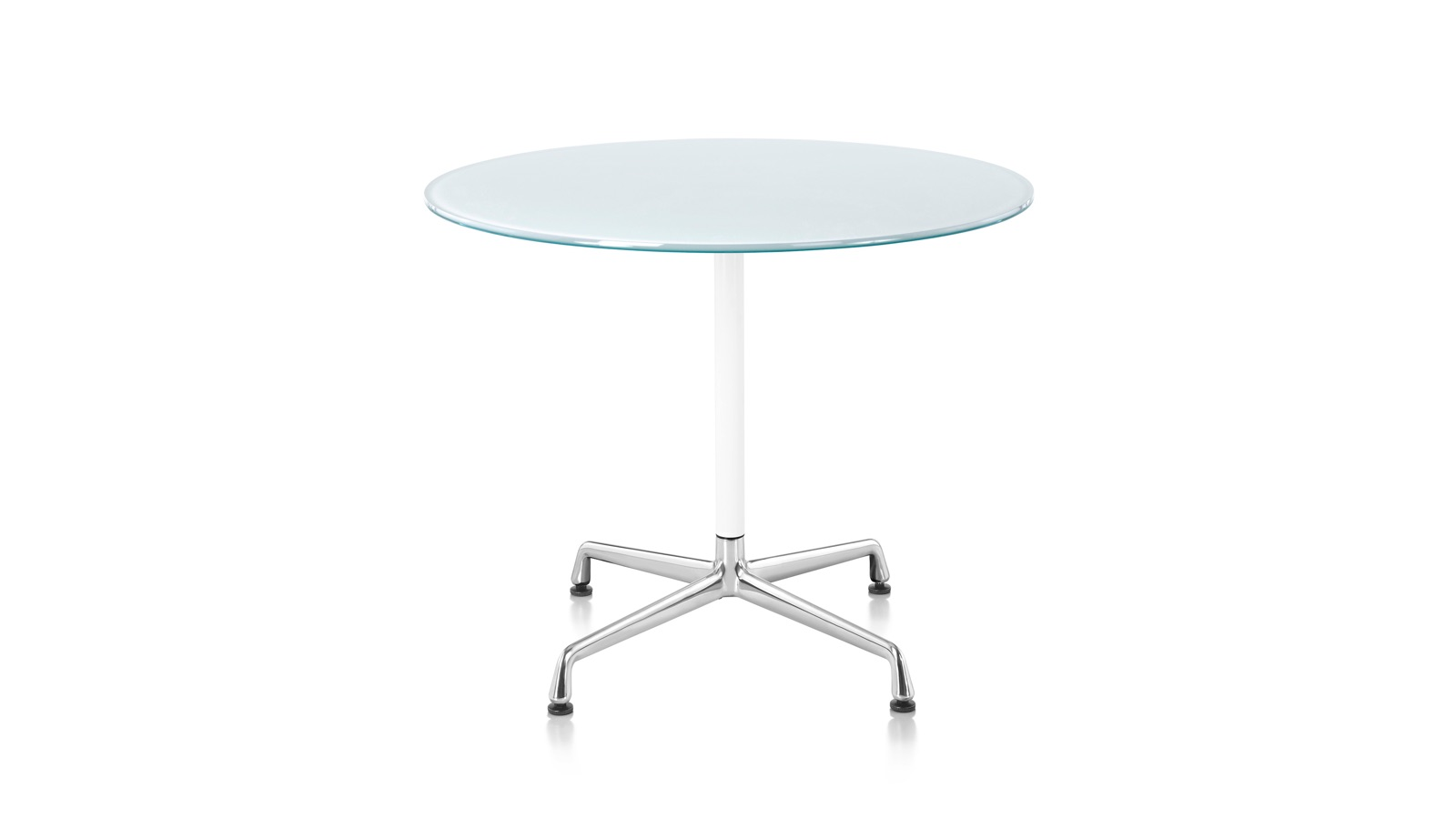 White sweep image of an Eames Conference Table with round top.