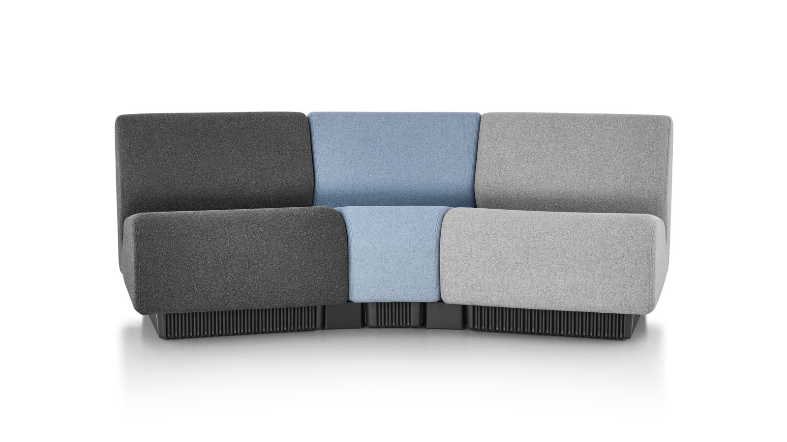 White sweep image of a three-seat section of Chadwick Modular Seating.