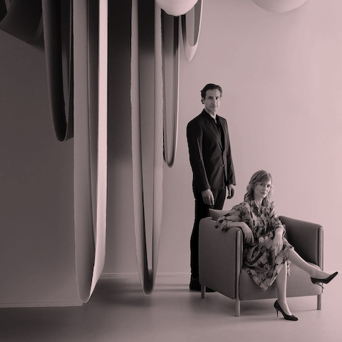 A portrait of the designers Stefan Scholten and Carole Baijings, designers of ColourForm Sofa Group.