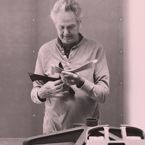 A portrait of designer Don Chadwick, designer of Chadwick Modular Seating and co-designer of the Aeron Chair.