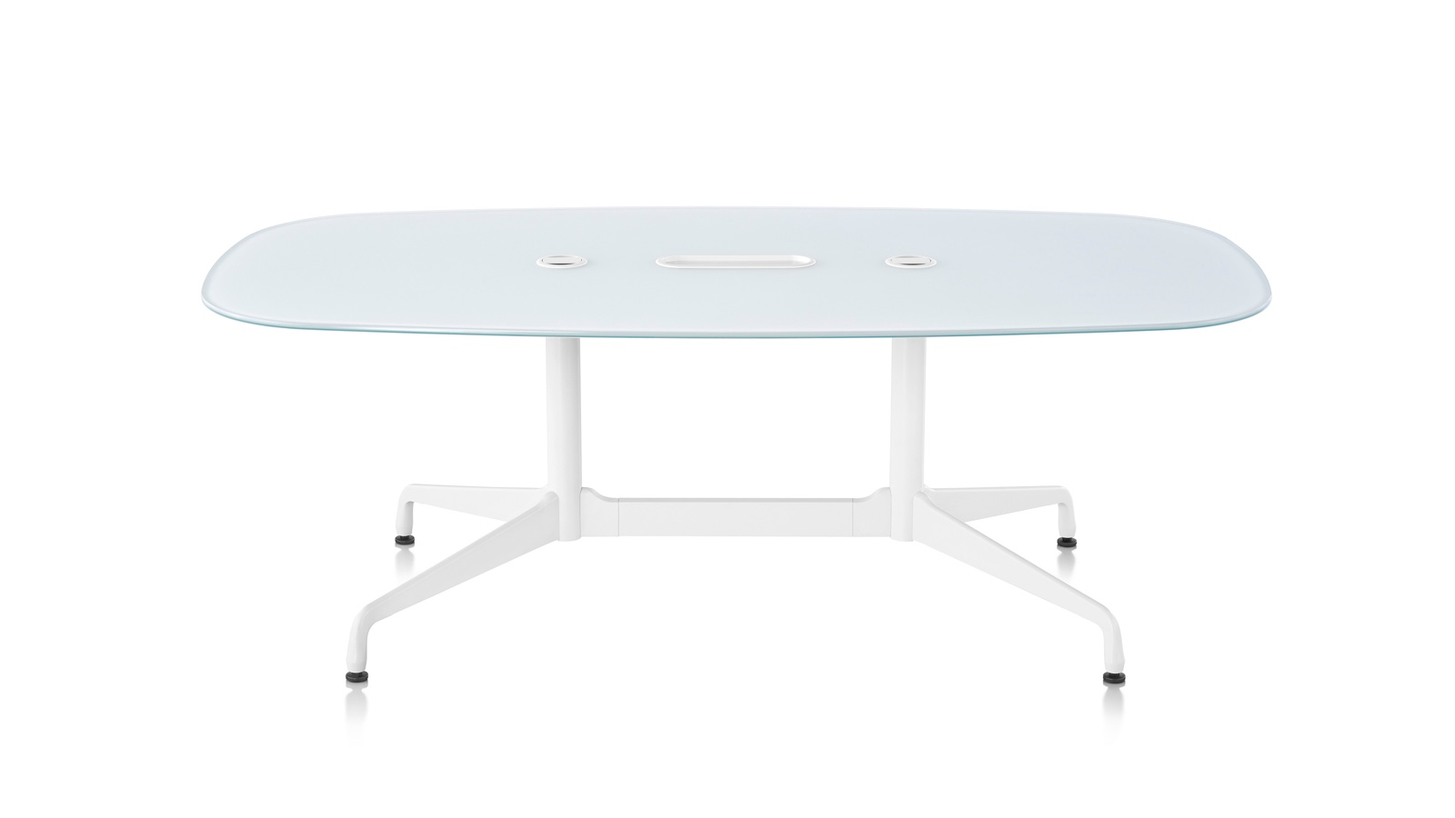 White sweep image of an Eames Standing-Height Table with oval top.