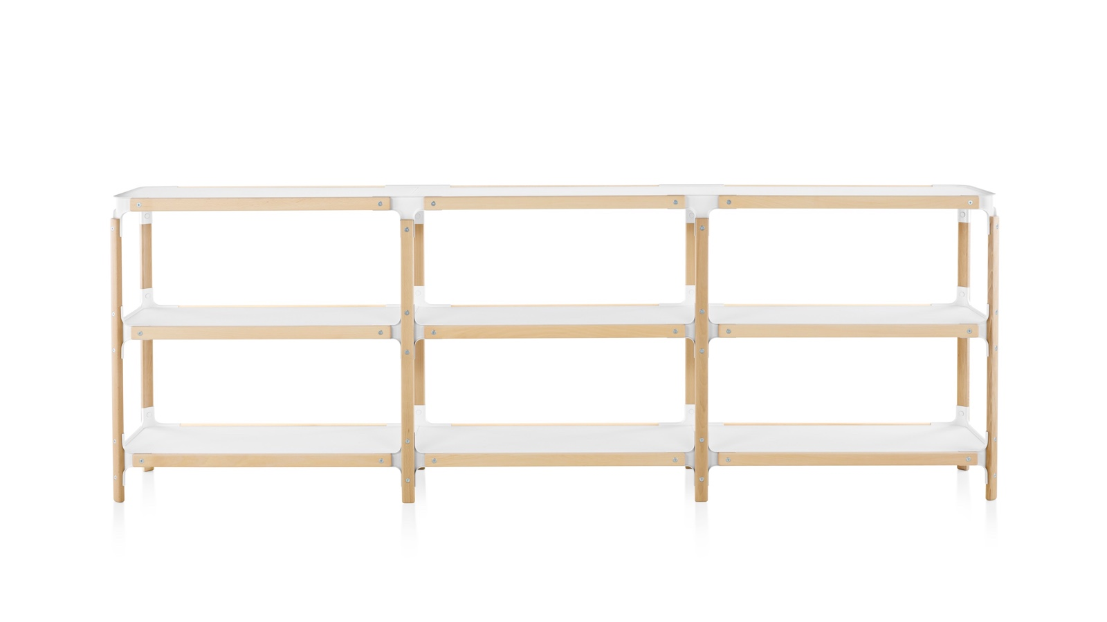 White sweep image of a three unit-wide Magis Steelwood Shelving System.