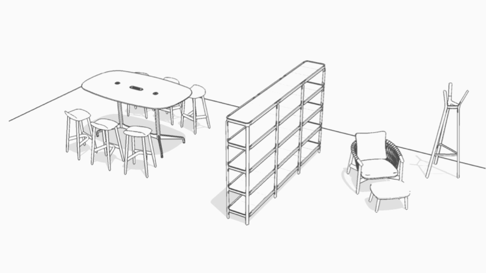 Overhead isometric illustration of this Workshop setting.