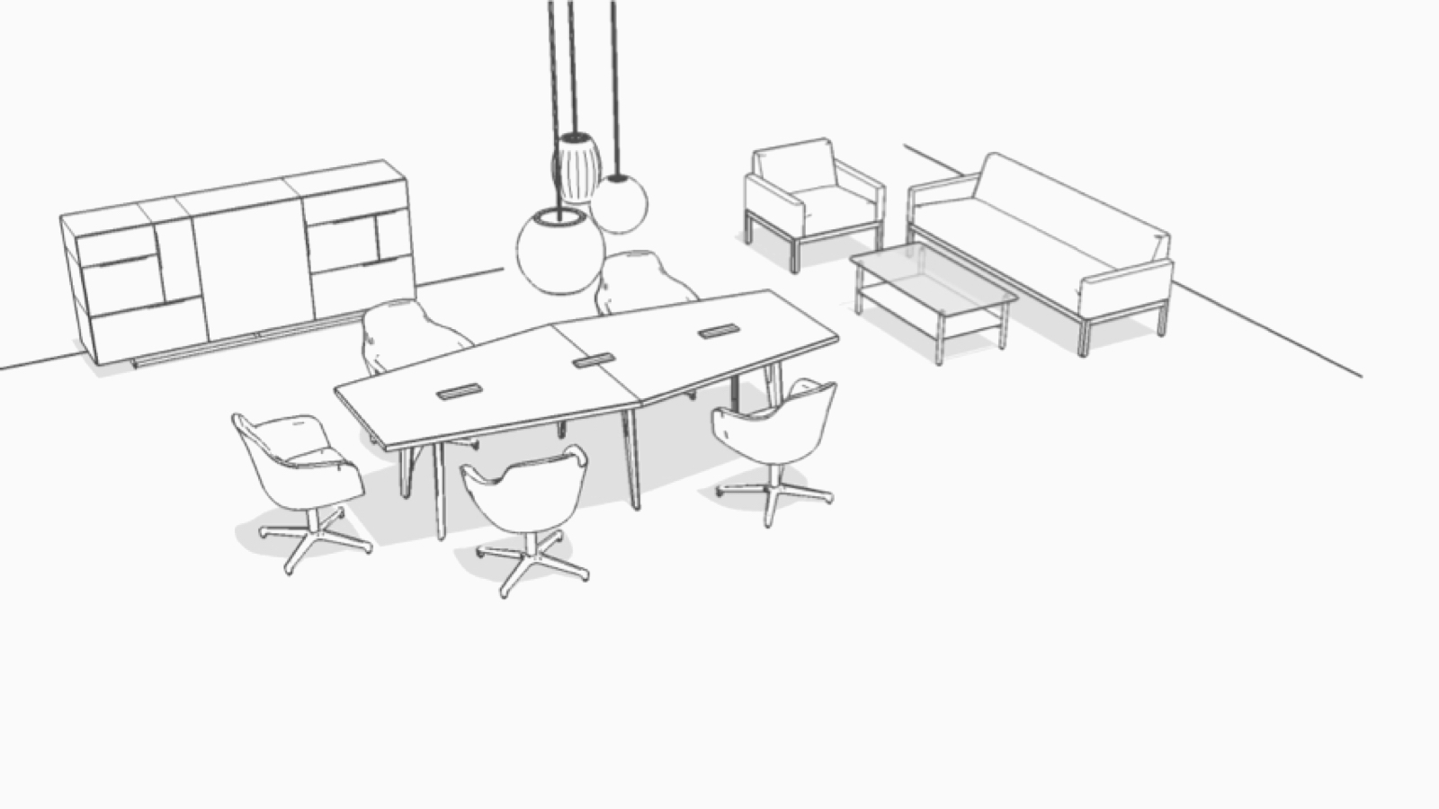 Overhead isometric illustration of this Meeting Space with adjacent Cove.