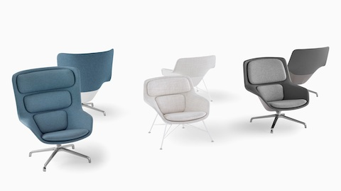 Blue, white, and gray Striad Lounge Chairs. Select to go to a WHY Magazine interview with designers Markus Jehs and Jürgen Laub.