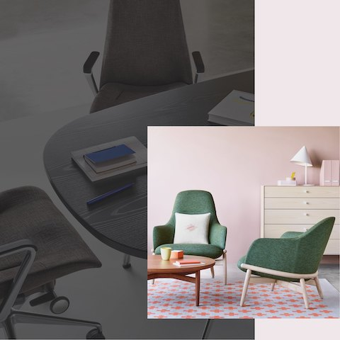 Two green Reframe Lounge chairs gathered beside a walnut Reframe table. The scene is set in front of a pink wall featuring a chest of drawers. An additional scene shows two black Taper Chairs gathered at an ebony Eames Table.