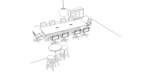 Overhead isometric illustration of a large meeting space, featuring conference tables, office chairs, stools, and storage.