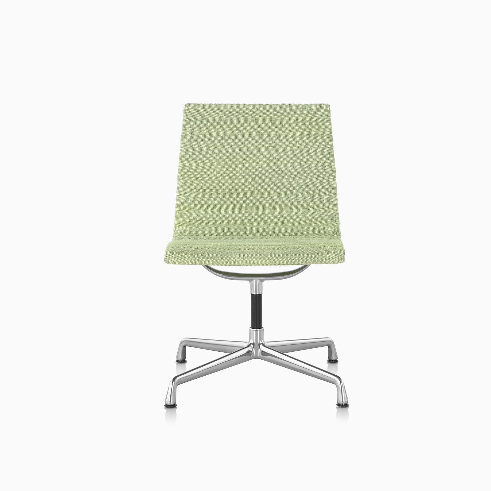 A Eames Aluminum Group side chair in Mode Yucca with polished aluminum base.