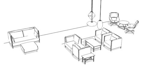 Overhead isometric illustration of a lounge work setting, featuring lounge seating and occasional tables.