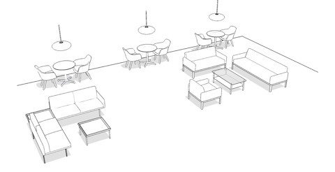 Overhead isometric illustration of a casual meeting space, featuring lounge seating and occasional tables.