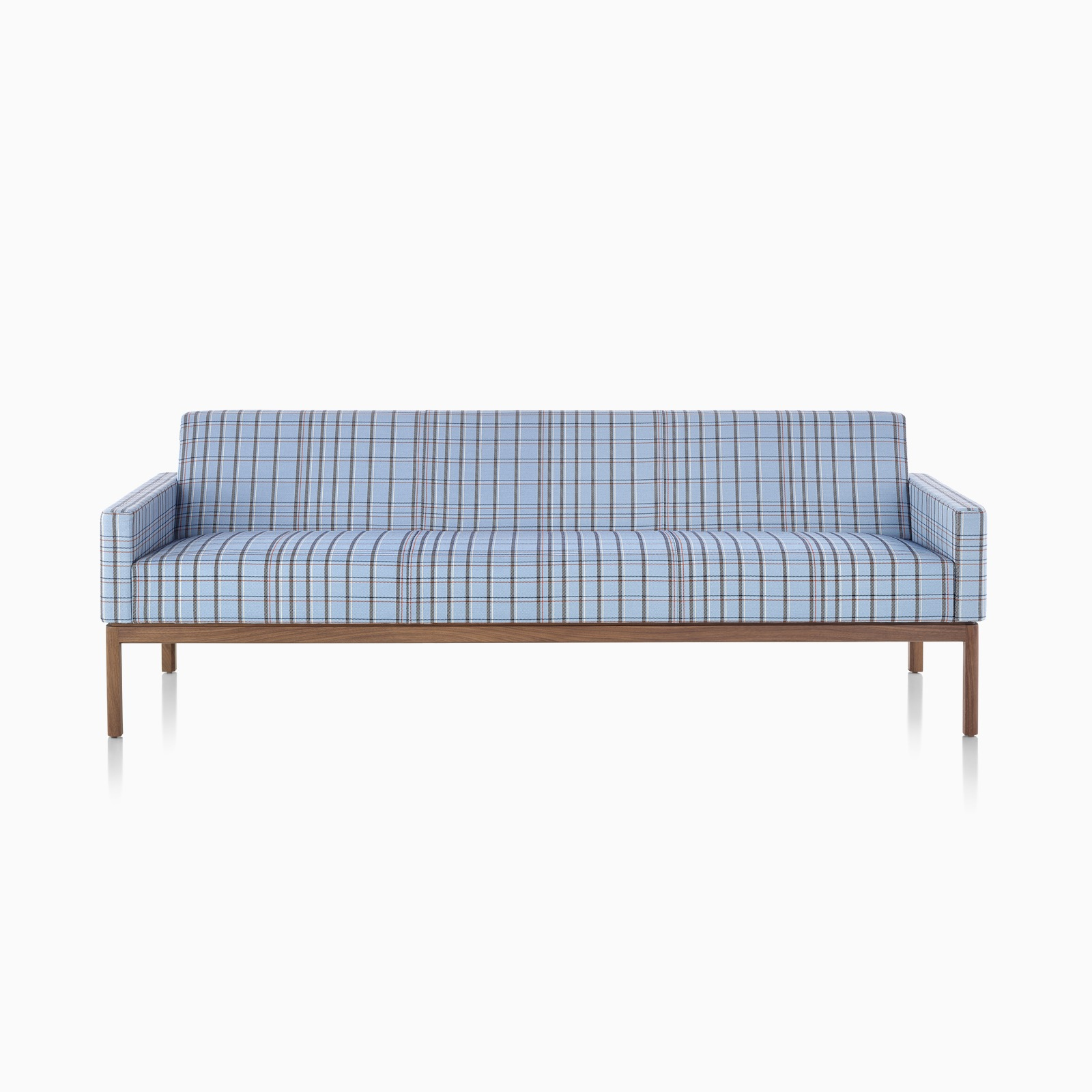 A Wood Base Sofa in Twill Plaid Natier Blue.