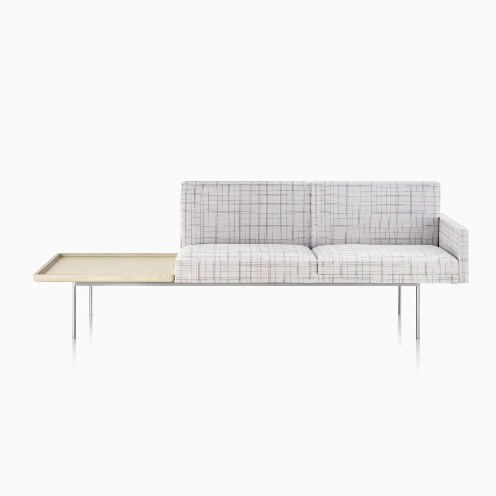 Tuxedo Lounge Seating in Pick Stitch Plaid Cotton.