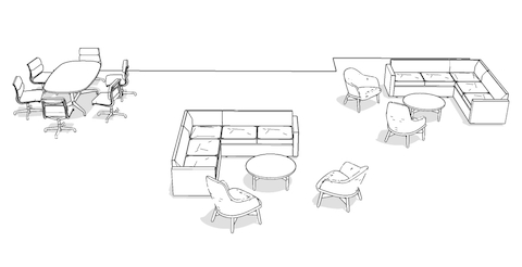 Overhead isometric illustration of formal and casual meeting spaces, featuring lounge seating, occasional tables, and a conference table with office chairs.