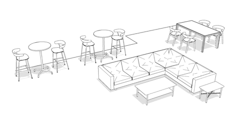 Overhead isometric illustration of flexible furnishings, featuring lounge seating, occasional tables, standing-height tables with stools, and a conference table with chairs.