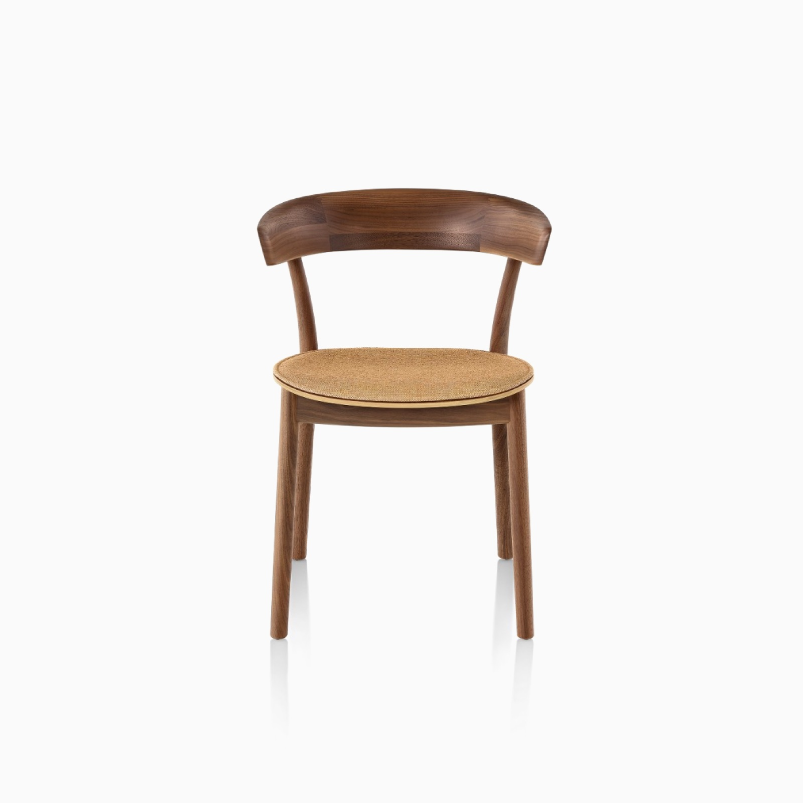 A Leeway Chair with a Walnut frame, featuring a copper colored upholstered seat, viewed from the front.