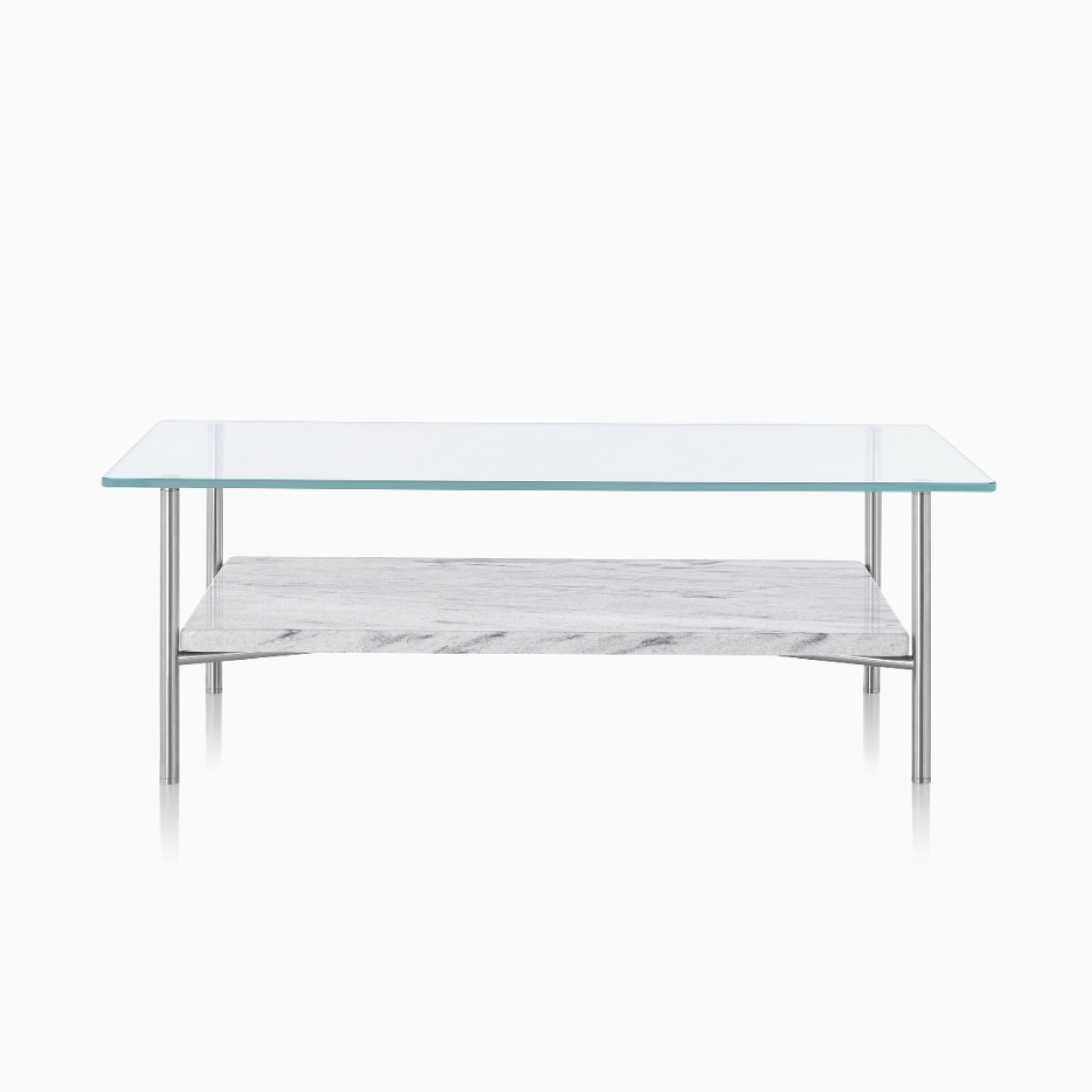 A rectangular Layer occasional table with a glass top and stone lower shelf.