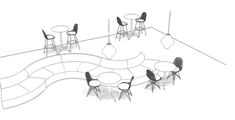 Overhead isometric illustration of a casual meeting space, featuring lounge seating, side chairs, and occasional tables.