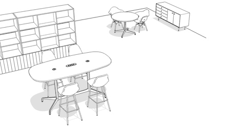 Overhead isometric illustration of a meeting space, featuring conference tables, side chairs, stools, and storage.