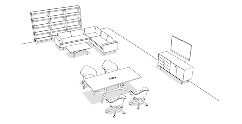 Overhead isometric illustration of a Collection at Work setting.