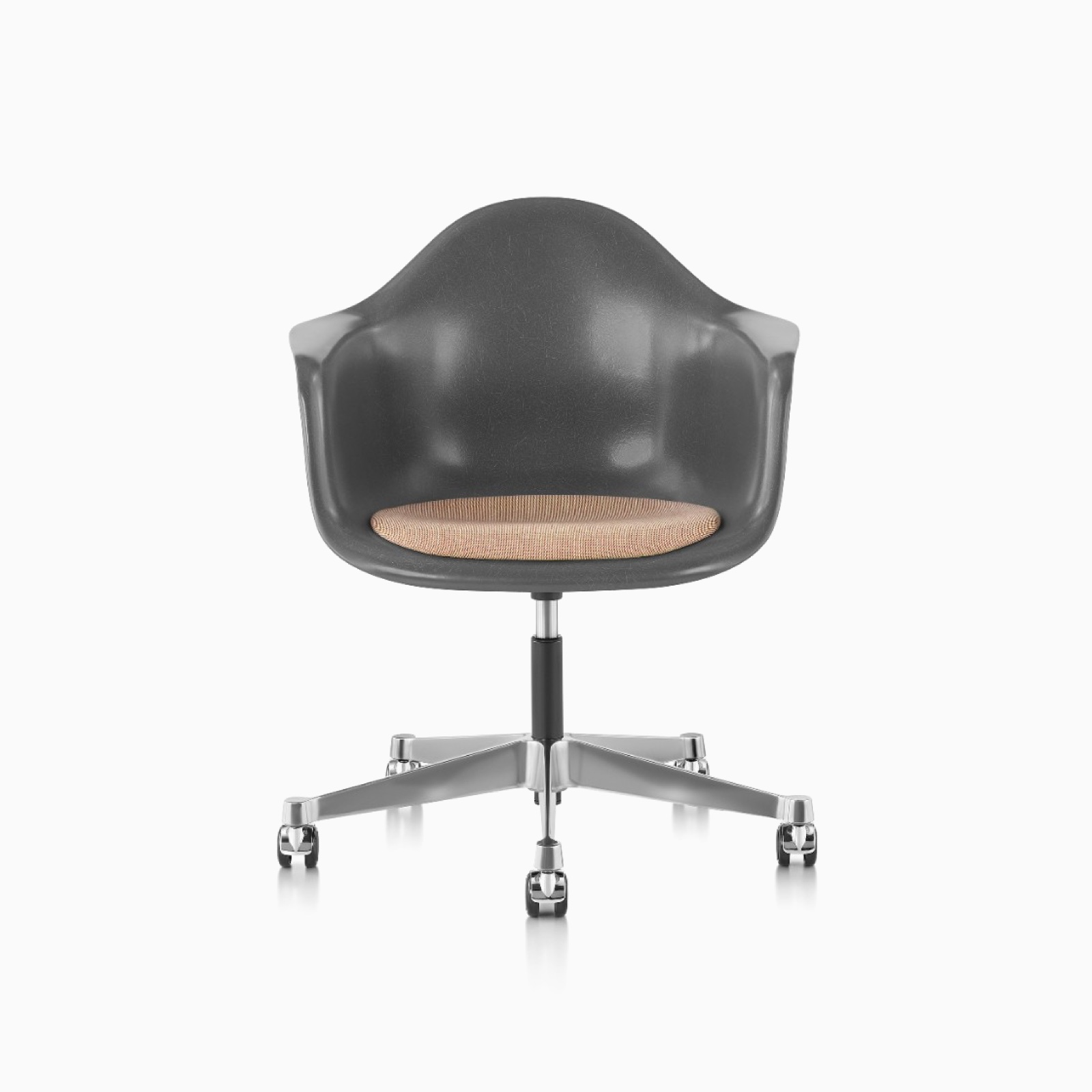 An Eames Task Chair with an Elephant Hide Grey Shell.