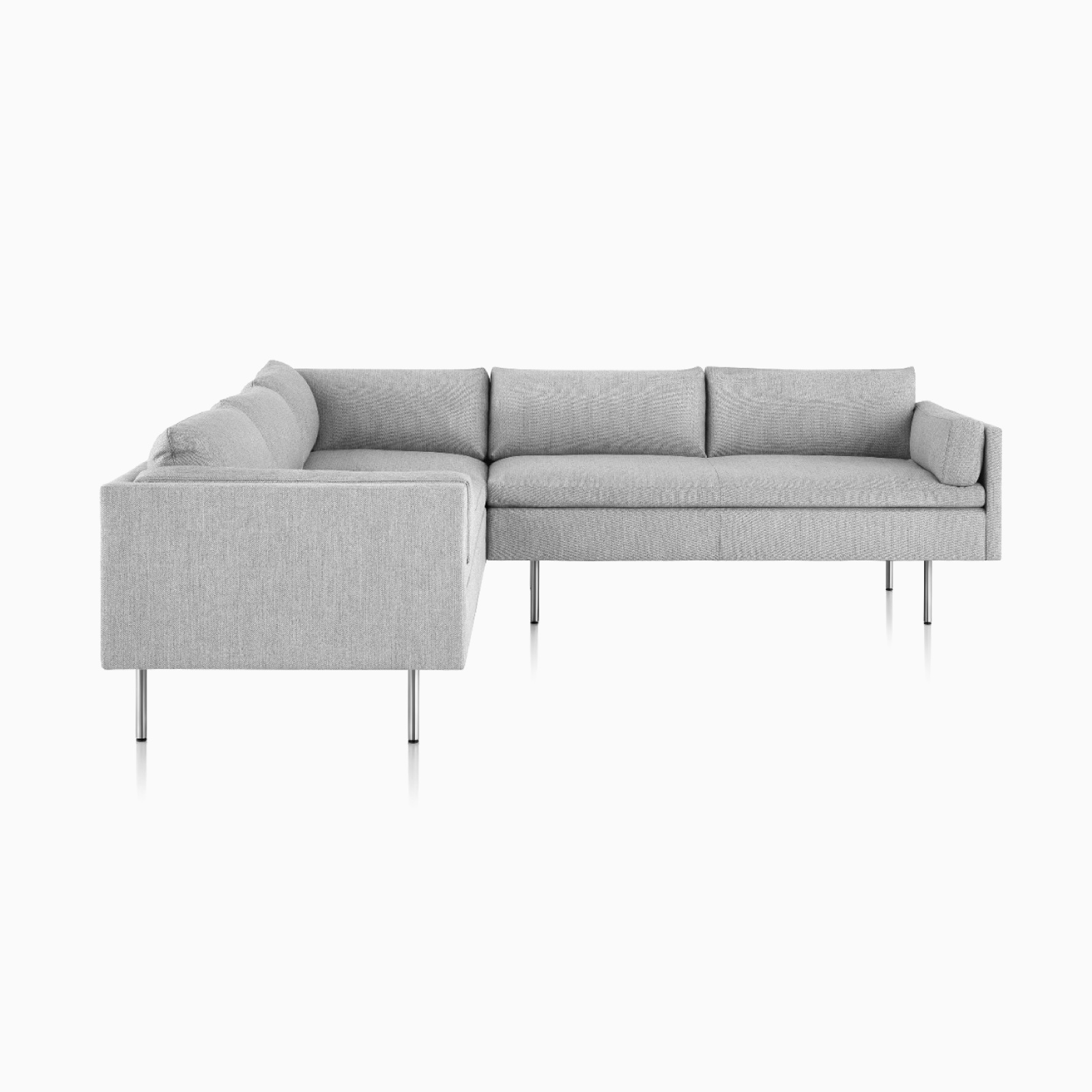 A grey Bolster Sofa in an L-shaped configuration, viewed from the front.