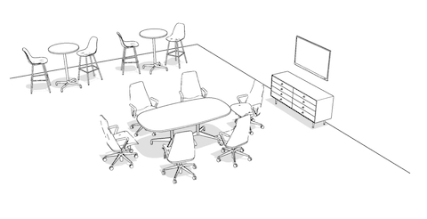 Overhead isometric illustration of a meeting space, featuring a conference table, office chairs, storage, and standing height-tables with stools.