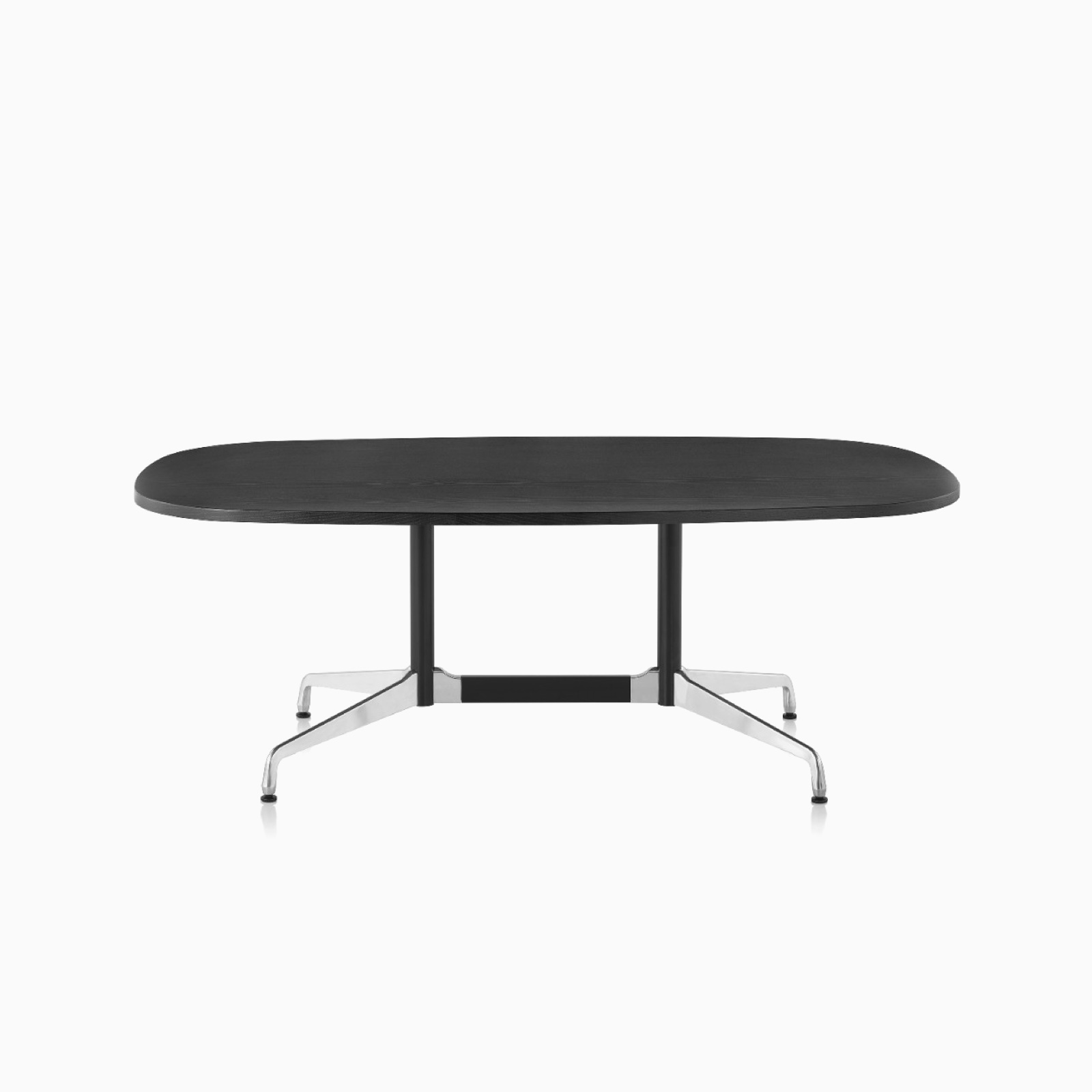 An ebony Eames Oval Conference Table.