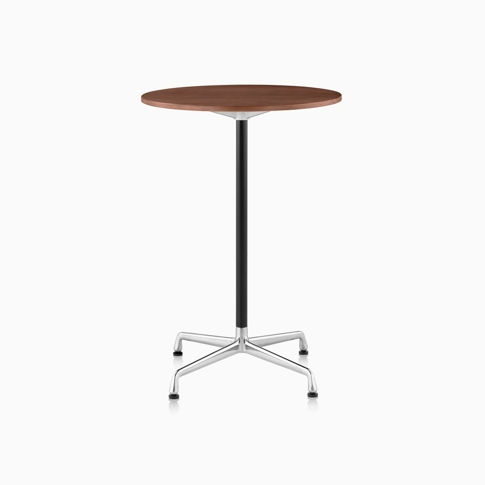 An Eames Standing Height Table featuring a Walnut Top and Polished Aluminum Base.