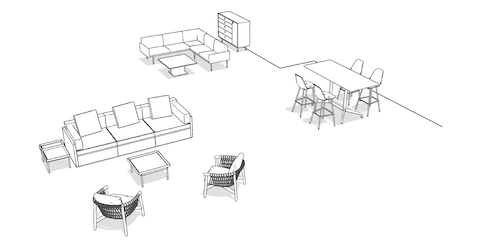 Overhead isometric illustration of a casual lounge setting, featuring lounge seating, occasional tables, storage, and a standing-height table with stools.