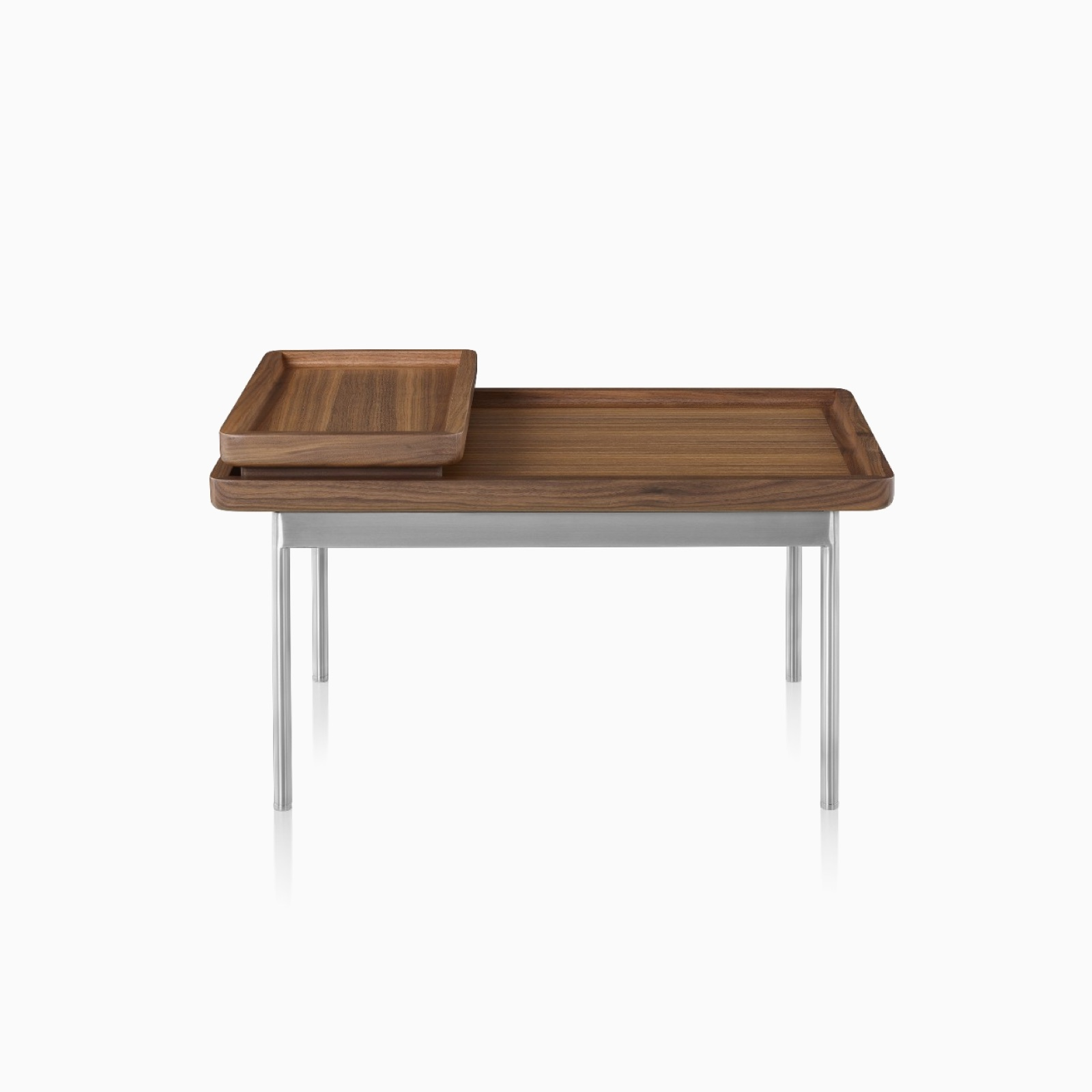 A Tuxedo Component Lounge Table featuring a Natural Walnut top and Satin Chrome Base.