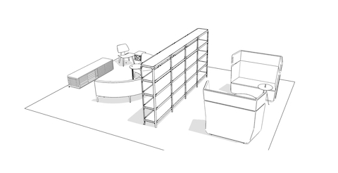 Simple sketch version of focused office setting with private lounge seating and a tall bookshelf separating the half-circle sofa and console collaboration area.