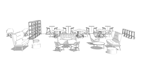 Simple sketch version of the open loft space with sofas, coffee tables, lounge chairs, poufs, café seating, stools, and bookshelf.