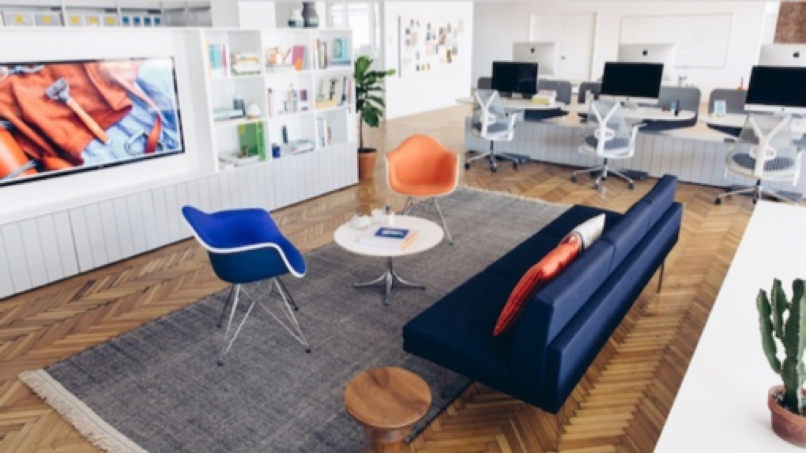 Modern white office with navy sofa, Nelson Pedestal Table, and upholstered Eames shell chairs in royal blue and orange next to an open white bookshelf with TV console. Nearby are a row of desks with computer monitors and Sayl work chairs.